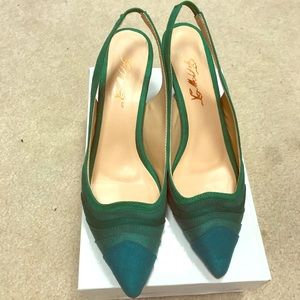 Beautiful green suede sling backs!